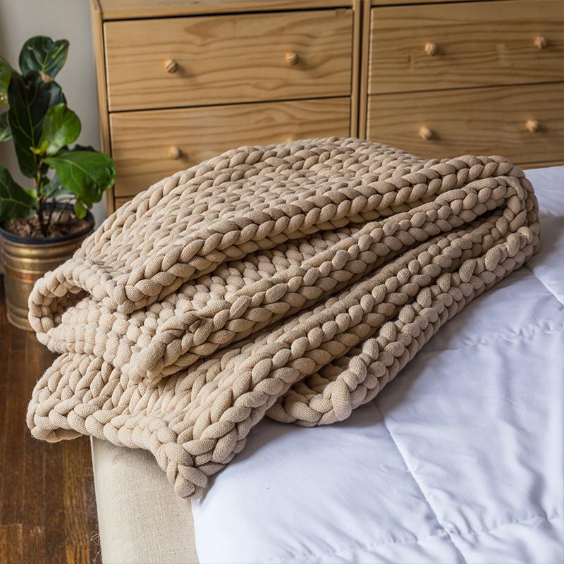 Chunky Taupe Knit Throw [Luxury comforter Sets] [by Latest Bedding]