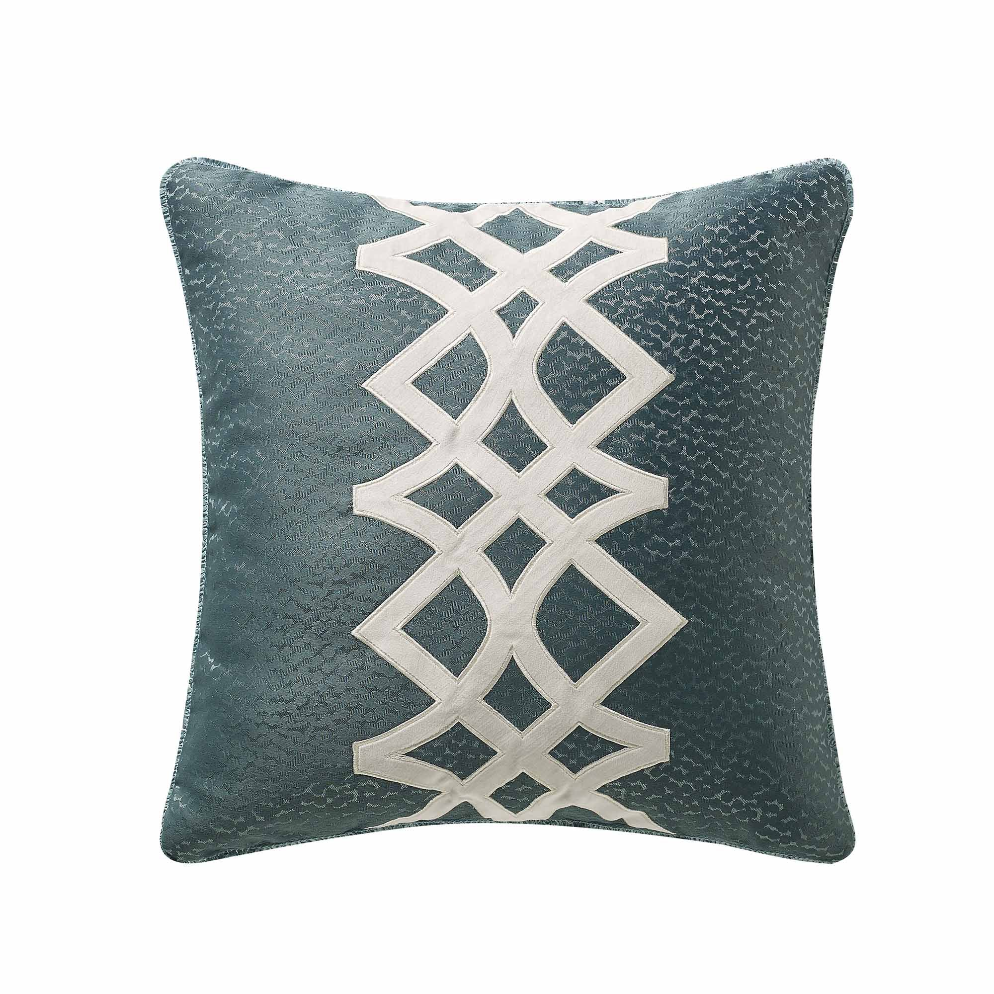 "Clarissa Blue Applique Throw Pillow 20"" x 20"" Throw Pillows By P/Kaufmann"