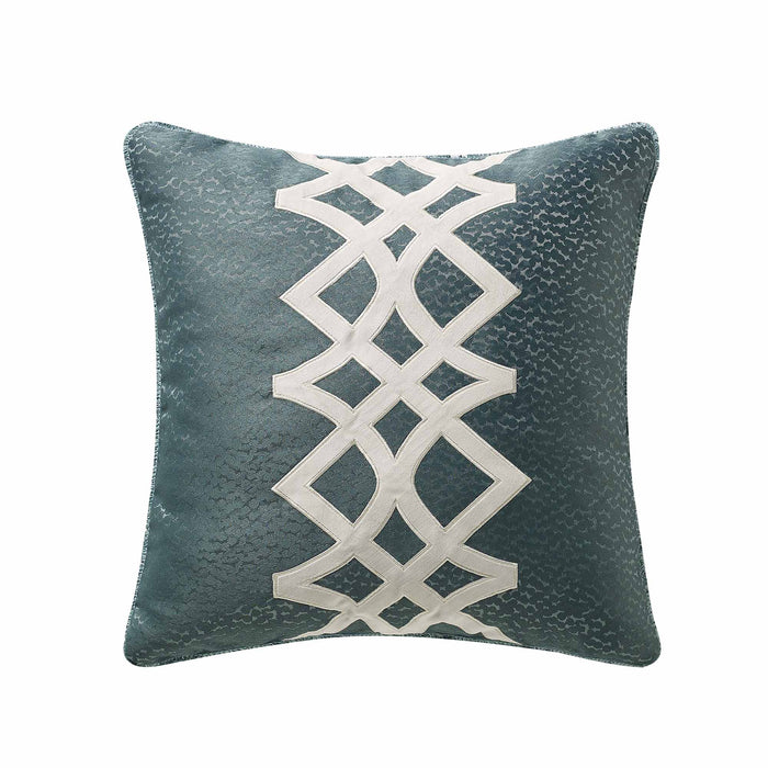 "Clarissa Blue Applique Throw Pillow 20"" x 20"""