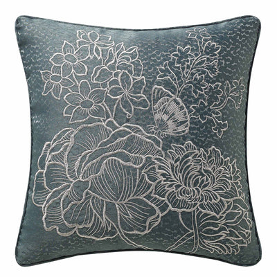 "Clarissa Blue Embroidered Throw Pillow 18"" x 18"" [Luxury comforter Sets] [by Latest Bedding]"