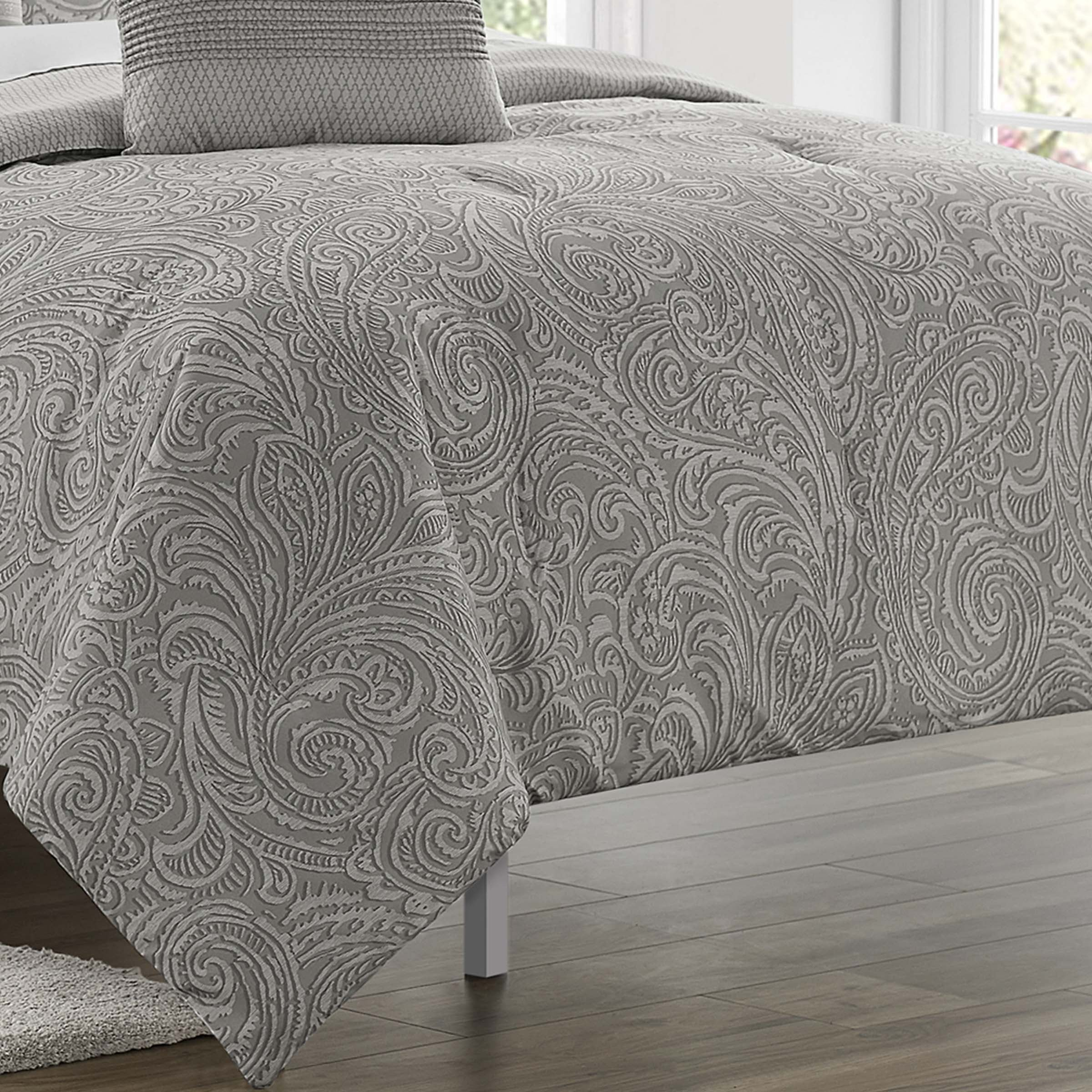 Claudine Grey 5-Piece Comforter Set [Luxury comforter Sets] [by Latest Bedding]