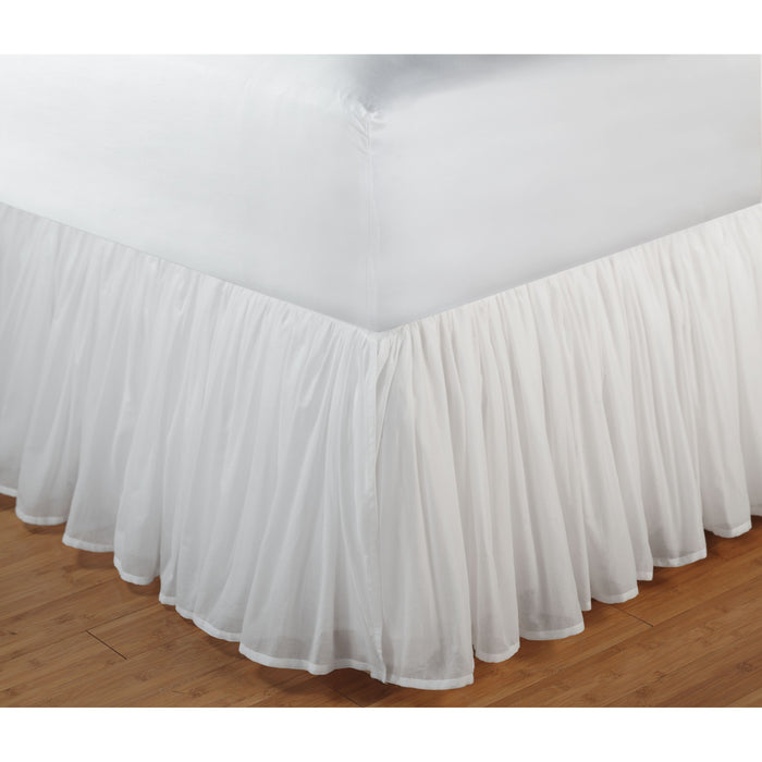 Cotton Voile White Bed Skirt 15""