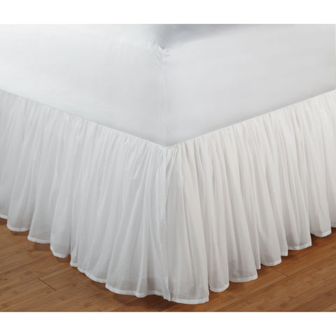 "Cotton Voile White Bed Skirt 15"" [Luxury comforter Sets] [by Latest Bedding]"