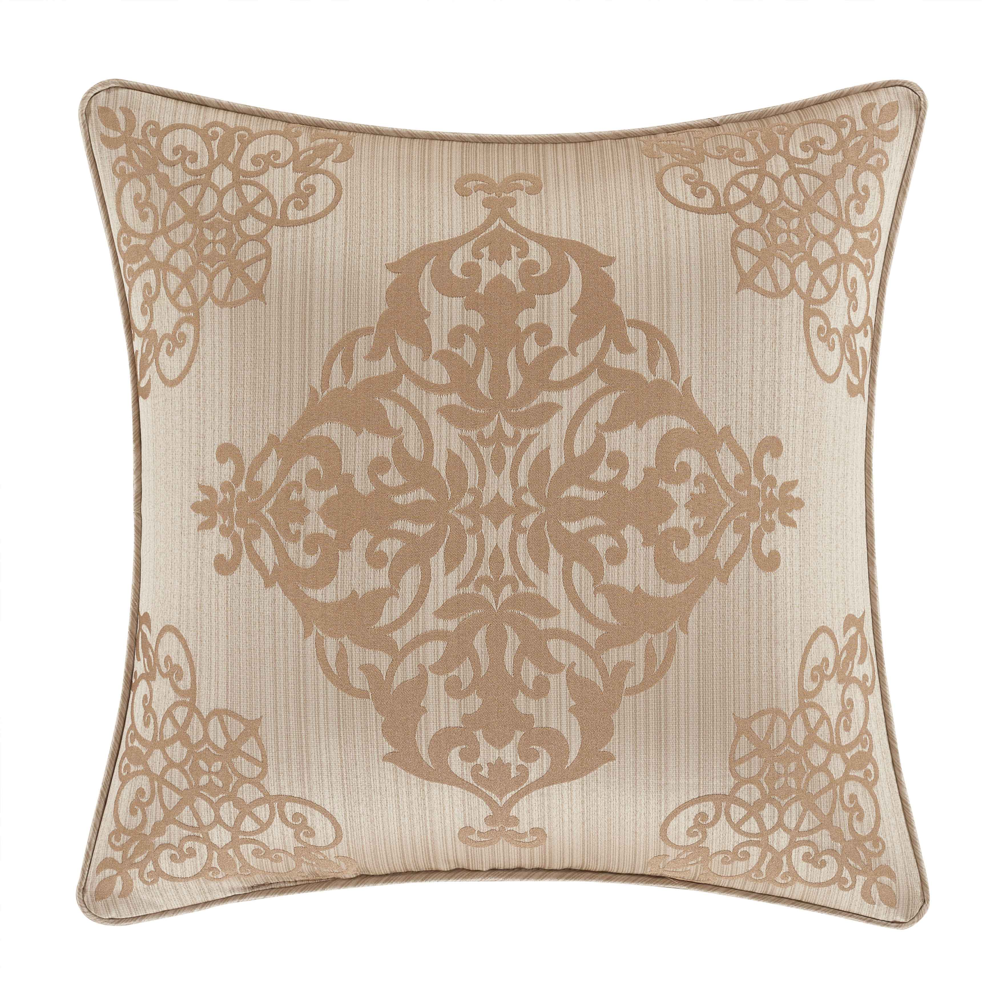 "Cresmont Gold Square Decorative Throw Pillow 18"" x 18"" Throw Pillows By J. Queen New York"