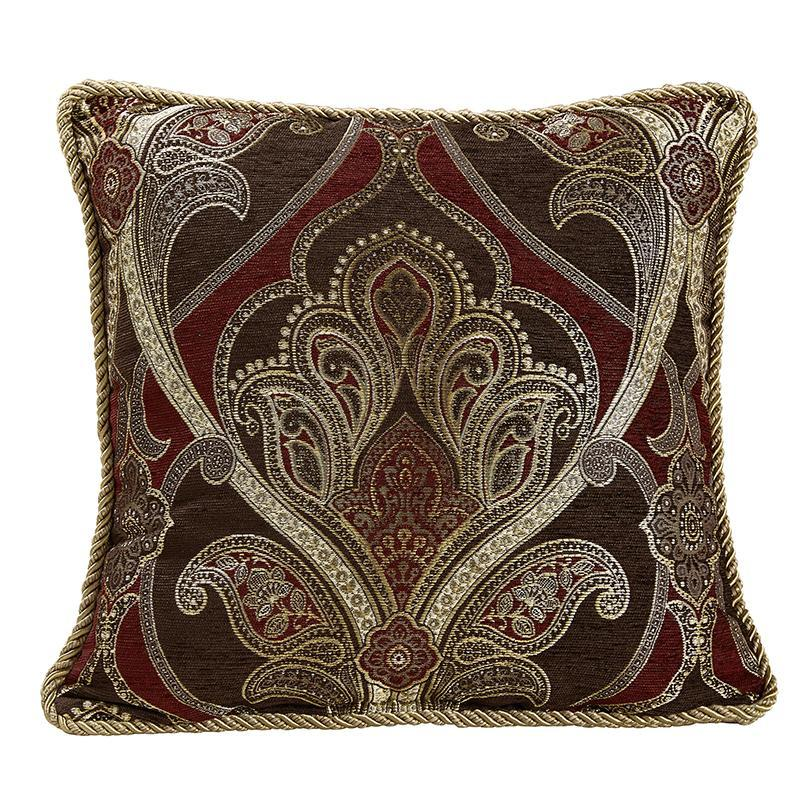 Throw Pillows Croscill Bradney Red Square Pillow [Luxury comforter Sets) ( by Latest Bedding)]
