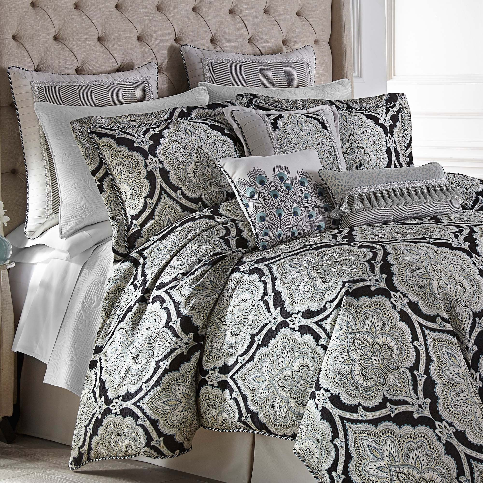 Dianella Black 4-Piece Comforter Set By Croscill [Luxury comforter Sets] [by Latest Bedding]