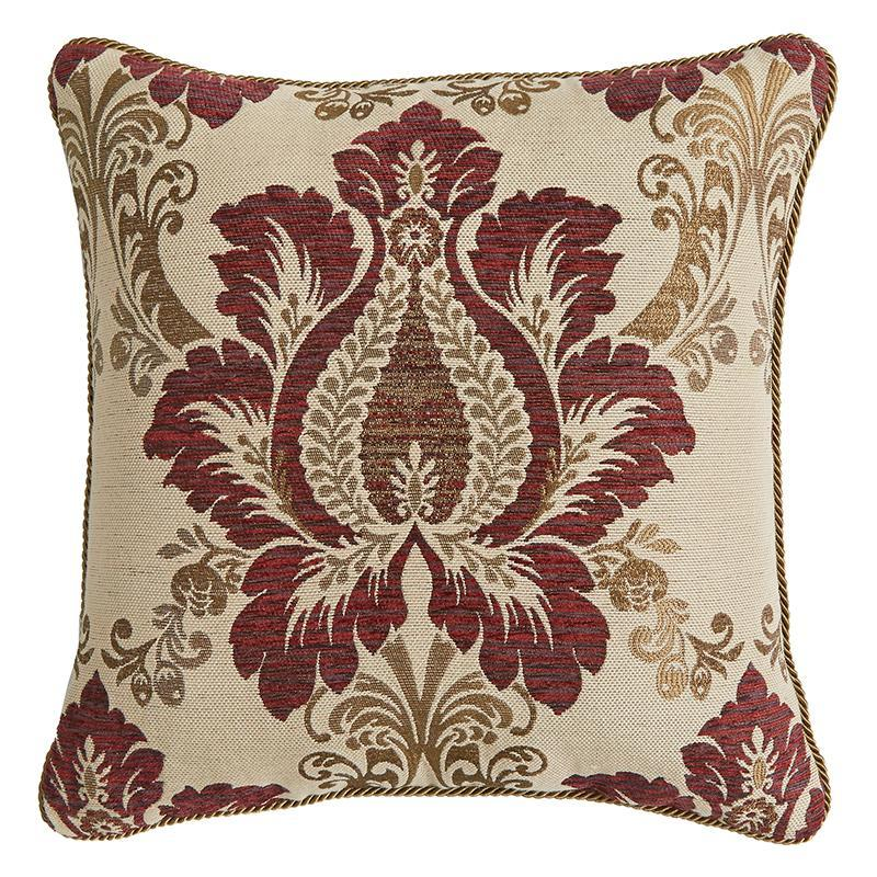 Throw Pillows Croscill Esmeralda Bodeaux Square Pillow [Luxury comforter Sets) ( by Latest Bedding)]