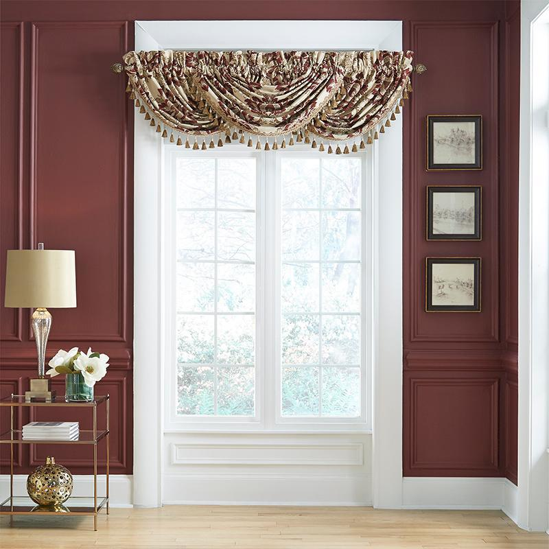 Window Valance Croscill Esmeralda Bodeaux Waterfall Swag Valance [Luxury comforter Sets) ( by Latest Bedding)]