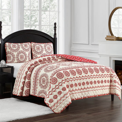 Cyrus Red 3-Piece Quilt Set [Luxury comforter Sets] [by Latest Bedding]