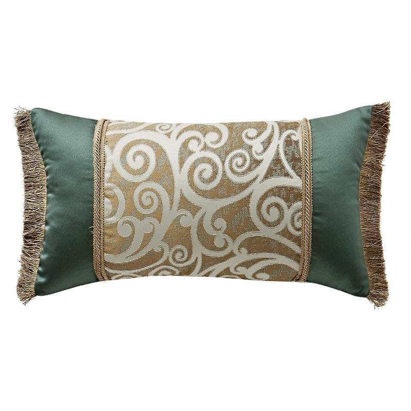 "Pillows Anora Brass/Jade Decorative Pillow 11"" x 20"" by Waterford Latest Bedding"