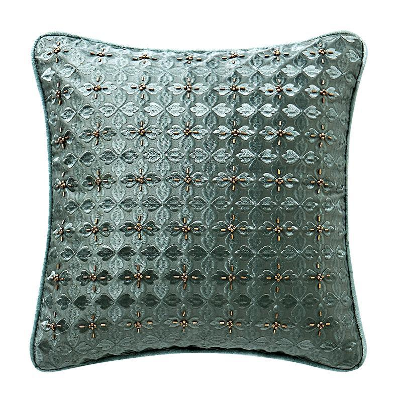 "Anora Brass/Jade Decorative Pillow 14"" x 14"" by Waterford [Luxury comforter Sets] [by Latest Bedding]"