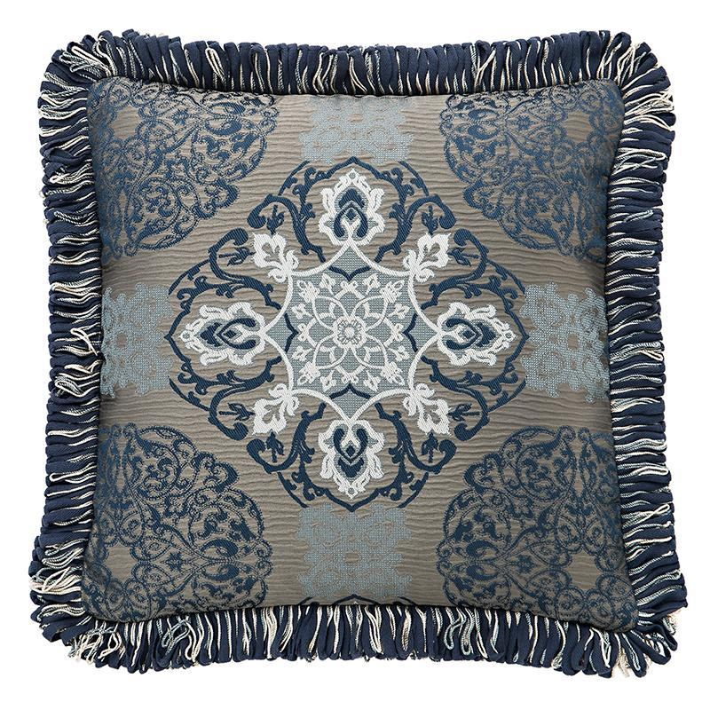 "Jonet Indigo Decorative Pillow 18"" x 18"" by Waterford [Luxury comforter Sets] [by Latest Bedding]"