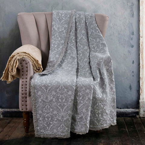 Damask Oatmeal Throw [Luxury comforter Sets] [by Latest Bedding]