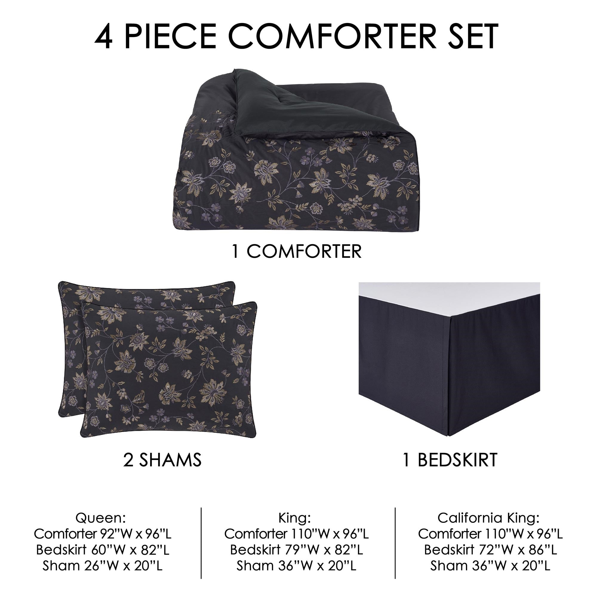 Delilah Indigo 4-Piece Comforter Set [Luxury comforter Sets] [by Latest Bedding]
