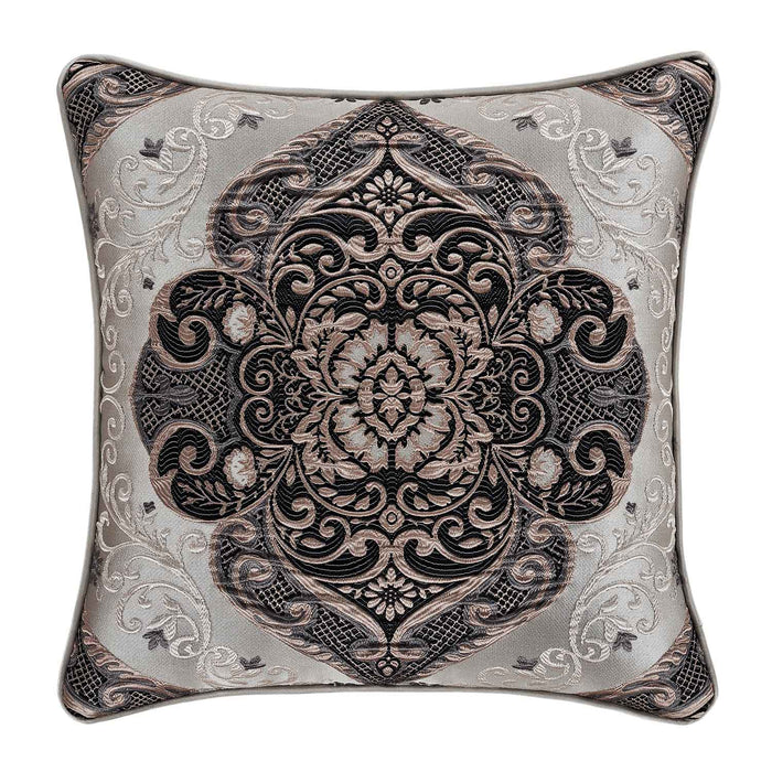 "Desiree Silver Square Decorative Throw Pillow 18"" x 18"""