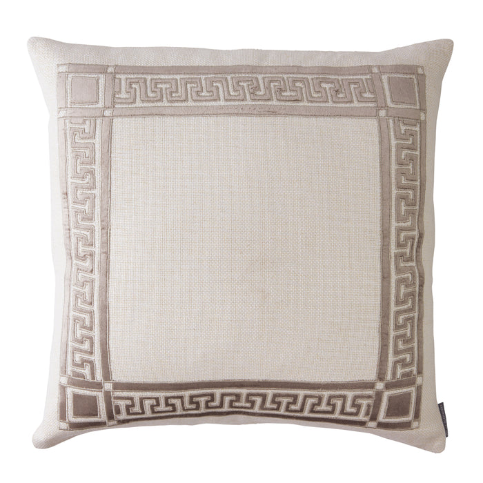 Dimitri Ivory Basketweave Fawn Velvet Square Pillow