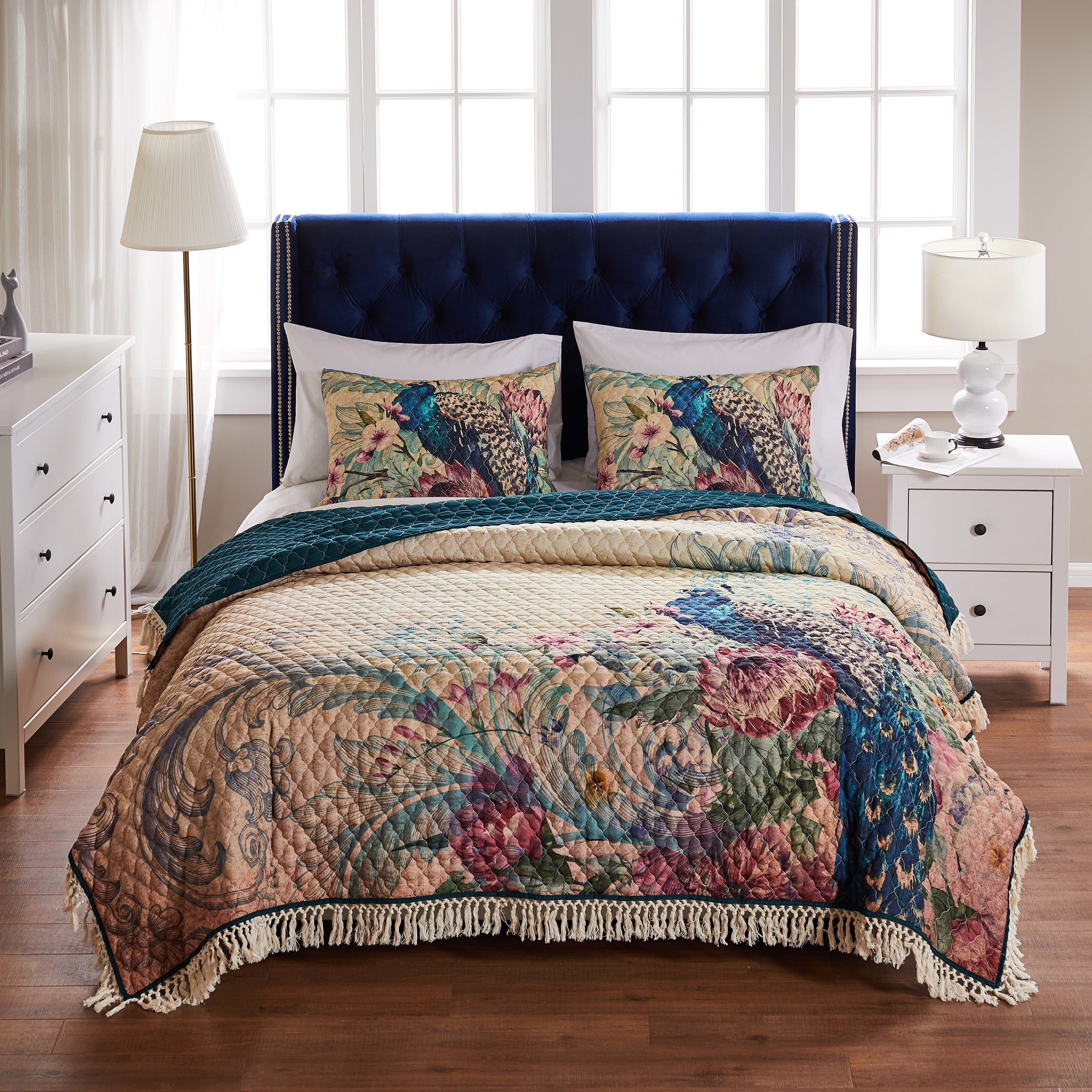 Eden Peacock Ecru 3-Piece Quilt Set Quilt Sets By Greenland Home Fashions