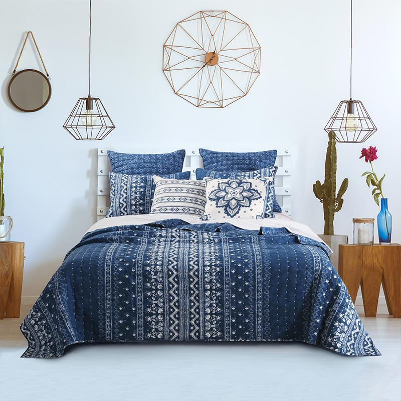 Quilt Sets Greenland Home Fashions Embry Indigo 3-Piece Quilt Set Indigo Latest Bedding