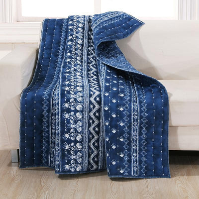 Embry Indigo Throw [Luxury comforter Sets] [by Latest Bedding]