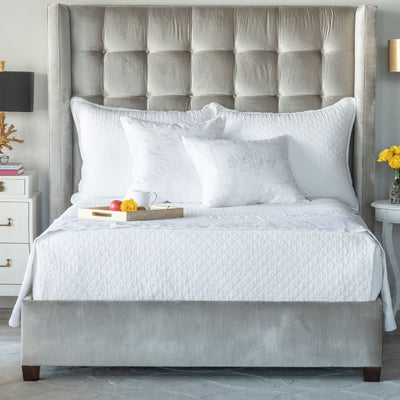 Emily White Linen Diamond Quilted Coverlet Coverlet By Lili Alessandra