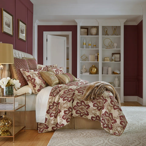 Esmeralda Bordeaux 4-Piece Comforter Set By Croscill