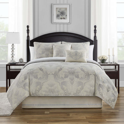 Fairlane Silver 4-Piece Reversible Comforter Set Comforter Sets By Waterford