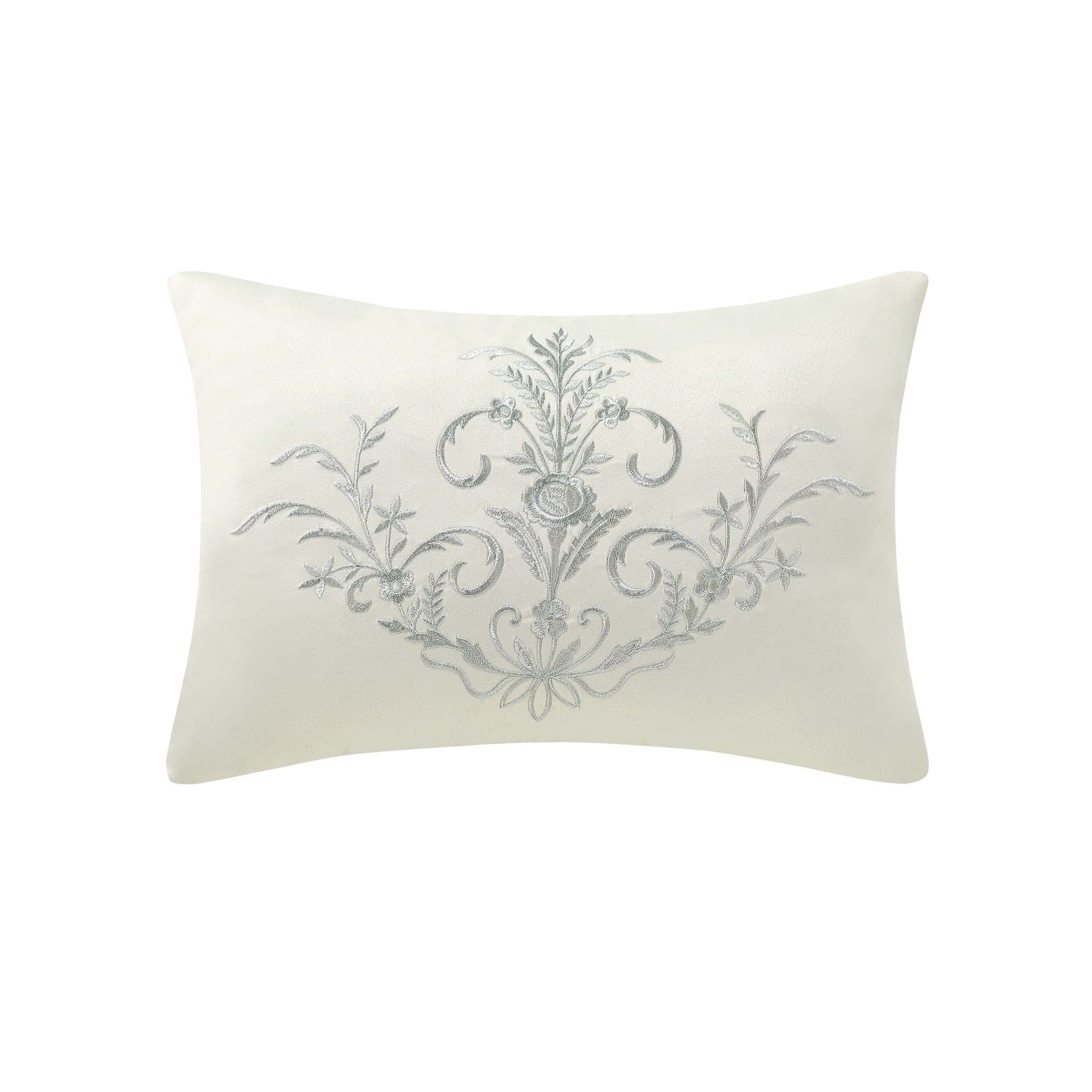 "Fairlane Silver Decorative Throw Pillow 18"" x 12"" Throw Pillows By Waterford"