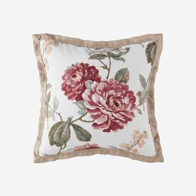 Fleur White Square Throw Pillow By Croscill Throw Pillows By Croscill Home LLC