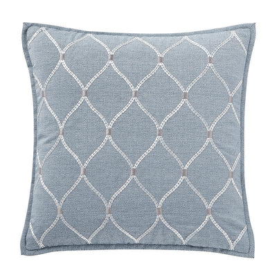 "Florence Chambray Blue Square Decorative Pillow 18"" x 18"" Throw Pillows By Waterford"