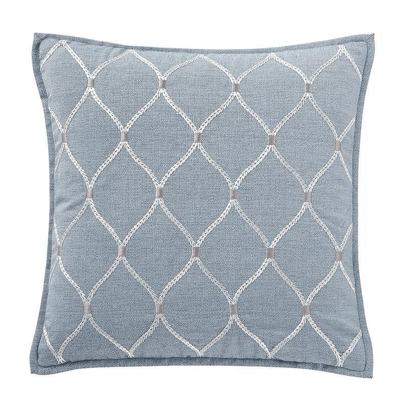 "Florence Chambray Blue Square Decorative Pillow 18"" x 18"" by Waterford [Luxury comforter Sets] [by Latest Bedding]"
