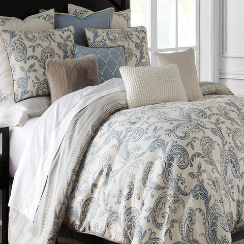 Florence Chambray 3-Piece Blue Duvet Set by Waterford [Luxury comforter Sets] [by Latest Bedding]