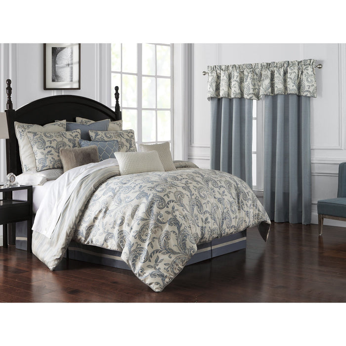 Florence Chambray Blue 4-Piece Reversible Comforter Set by Waterford