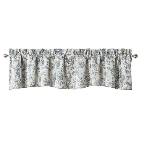 Florence Chambray Blue scalloped Valance by Waterford [Luxury comforter Sets] [by Latest Bedding]