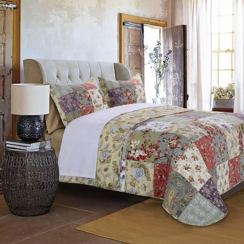 Blooming Prairie Multi 3-Piece Quilt Set [Luxury comforter Sets] [by Latest Bedding]