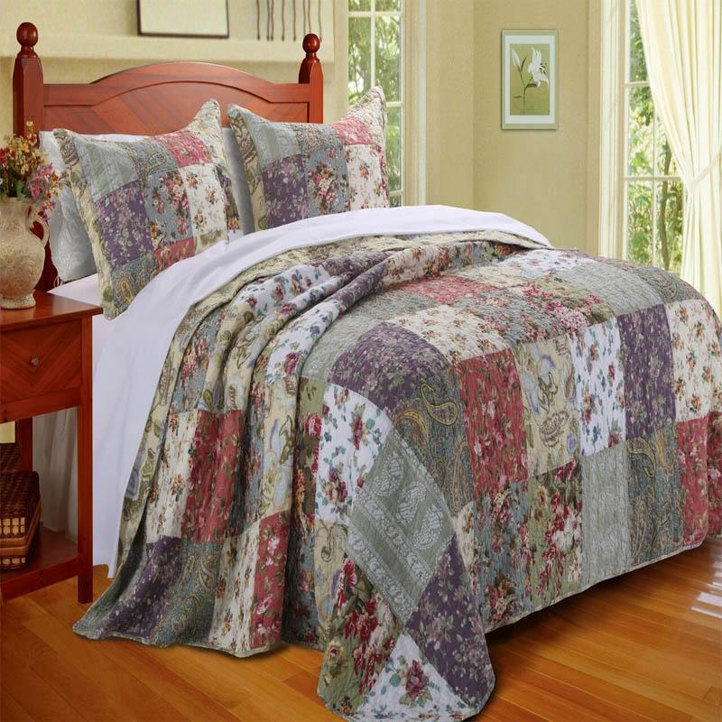 Blooming Prairie Multi 3-Piece Bedspread Set Bedspread Set By Greenland Home Fashions