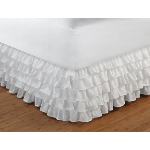 "Bed Skirt Multi-Ruffle White Bed Skirt 15"" Latest Bedding"