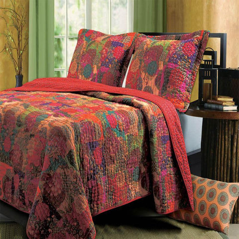 Quilt Sets Jewel 3 Piece Reversible Quilt Set by Greenland Home Fashions Multicolored Latest Bedding