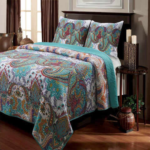 Quilt Sets Nirvana Teal 3-Piece Quilt Set Latest Bedding