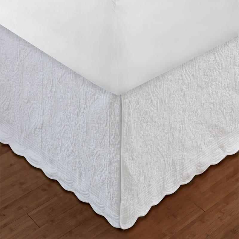 "Bed Skirt Paisley Quilted White Bed Skirt 18"" Latest Bedding"