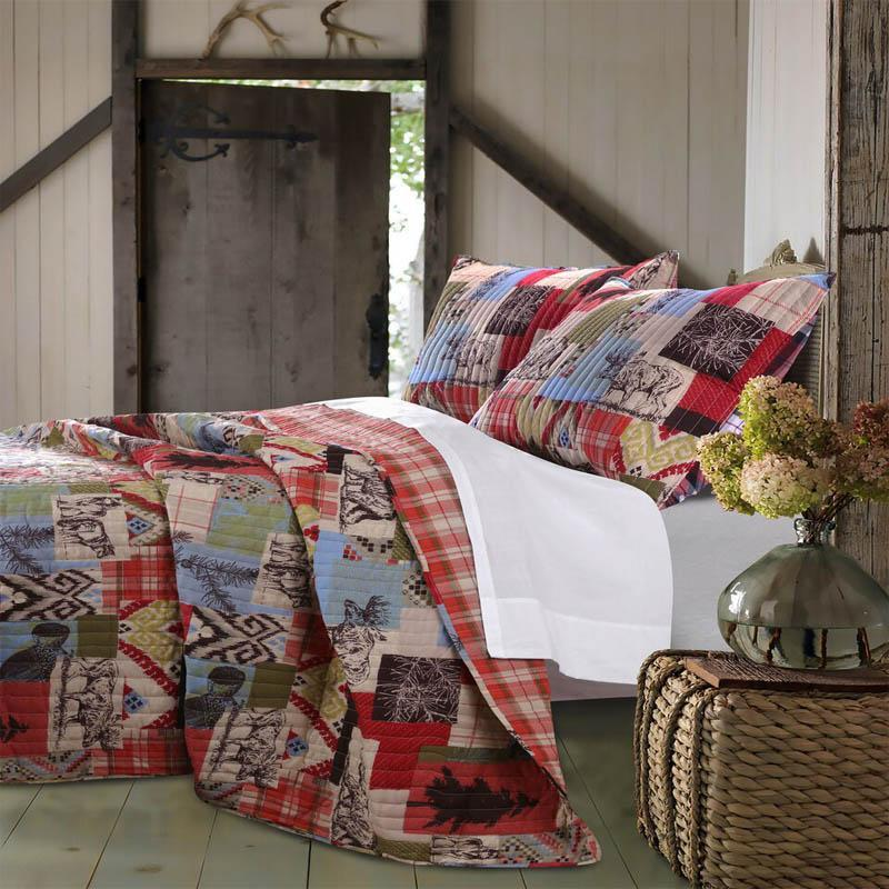 Greenland Home Fashions Rustic Lodge 3-Piece Quilt Set, Multi - Twin (Cotton, Nature)