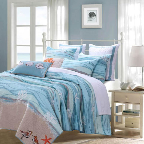 Quilt Sets Maui Beach Life 5 Piece Quilt Set by Greenland Home Fashions -100% Cotton - Light blue - white Latest Bedding