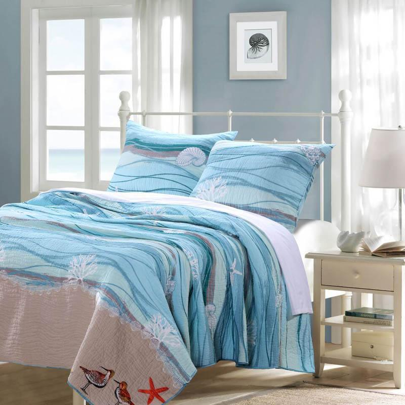 Quilt Sets Maui Beach Life 3 Piece Quilt Set by Greenland Home Fashions- 100% Cotton - Light blue - white Latest Bedding