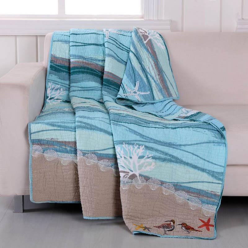 Throws Maui Quilted Embroidered Throw - Poly/Cotton Latest Bedding