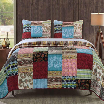 Bohemian Dream Multi 3-Piece Quilt Set Quilt Sets By Greenland Home Fashions