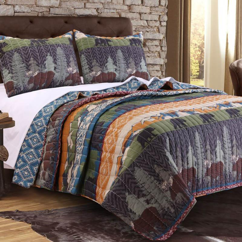Quilt Sets Greenland Home Fashions Black Bear Lodge Multi 3-Piece Quilt Set Latest Bedding