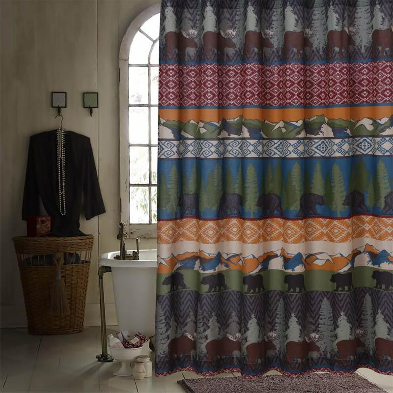 Shower Curtain Black Bear Lodge Multi Bath Shower Curtain Latest Bedding