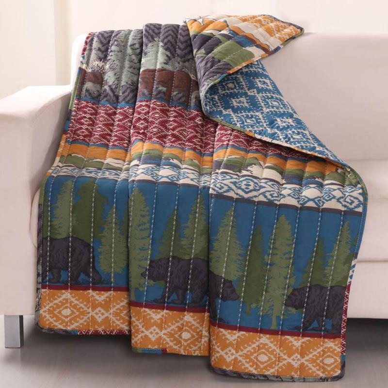 Throws Black Bear Lodge Throw by Greenland Home Fashions Cotton Rich Multicolor Latest Bedding