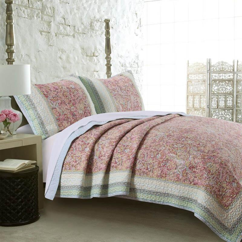 Greenland Home Fashions Palisades Quilt Set, pink, green
