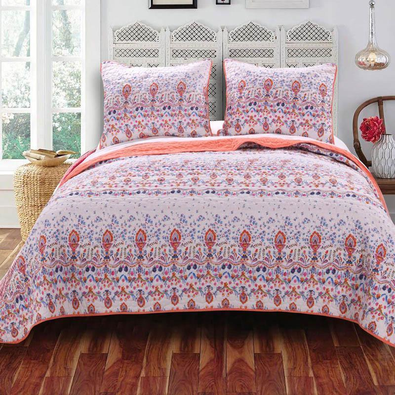 Greenland Home Fashions Amber Quilt Set, pink