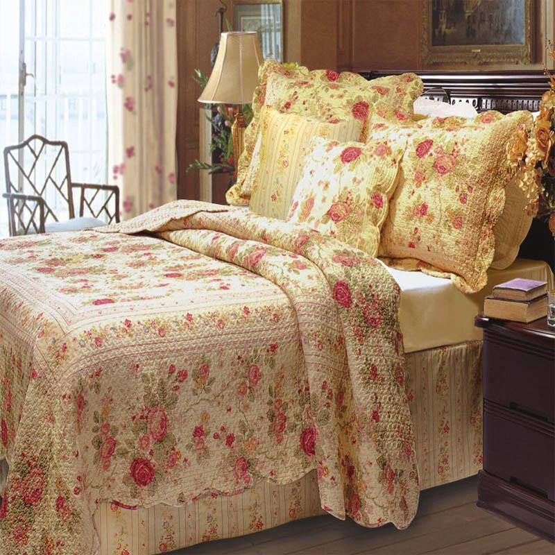 "Quilt Sets Antique Rose Quilt Set with 16"" Pillow 100% Cotton Latest Bedding"